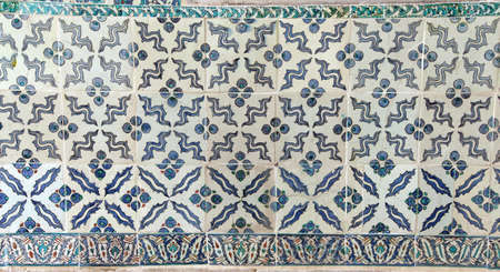 ISTANBUL, TURKEY  - MAY 18, 2014 - Elaborate Iznik mosaic tile work of the Harem  in Topkapi Palace,  in Istanbul, Turkey Editorial