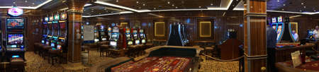 CARIBBEAN SEA - DEC 20, 2017 - Panoramic view of the casino of   a cruise ship in the  Caribbean Sea
