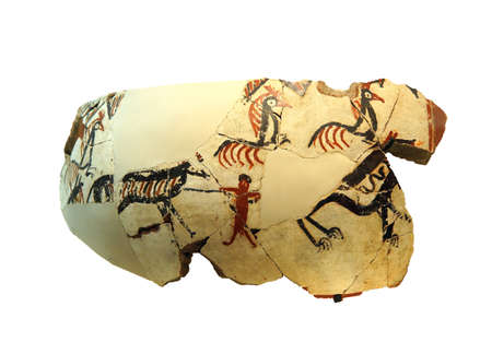 Vase fragments with neolithic hunting scenes, found near  tomb of King Midas of Phrygia,Gordium, Turkey