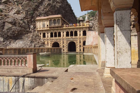 Water tank pool of the Galtaji temple complex, Jaipur, Rajasthan, India