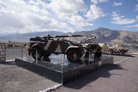 Recoiless chamber loaded gun RCL in mountain camouflage, near Indian army camp, Leh, Ladakh, India