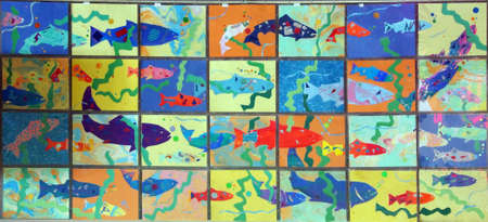 SEATTLE - JUL 24, 2016 - Stylized images of salmon swimming upriver at US Fisheries fish ladder  at the Hiram Chittenden Locks in Seattle