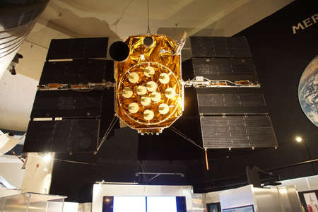 SAN DIEGO, CALIFORNIA - NOV 27, 2017 - Boeing GPS 12 satellite, Air and Space Museum at Balboa Park in San Diego, California