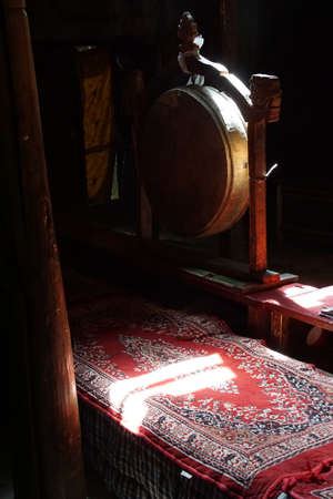 Budddhist drum used in prayer services, Lamayuru gompa monastery, Ladakh, India