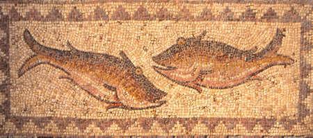 Romeinse mozaïeken van vis gevonden in de buurt van Ma'araat Numan, Syrië Stockfoto
