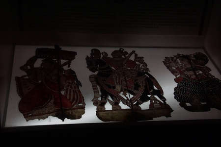 PUNE, INDIA - OCT 2, 2017 - Shadow puppets of South India, Raja Dinkar Kelkar Museum, Pune, India
