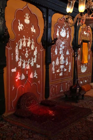 PUNE, I NDIA - OCT 2, 2017 - Details of the Mastani Mahal palace interior in  Raja Dinkar Kelkar Museum, Pune, India