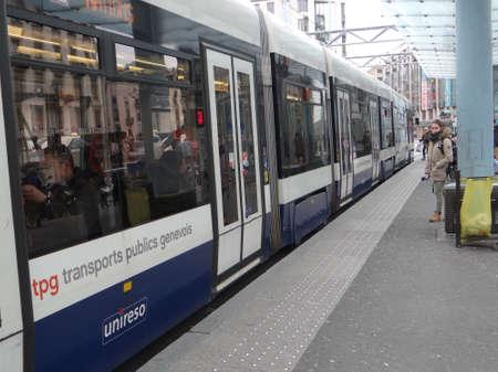 GENEVA, SWITZERLAND - FEB 24, 2018 - Mass transit in the urban center of  Geneva, Switzerland