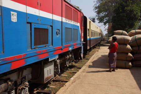 KYAUKME, MYANMAR - FEB 23, 2015 - Daily train approaches the station, Kyaukme Myanmar (Burma)