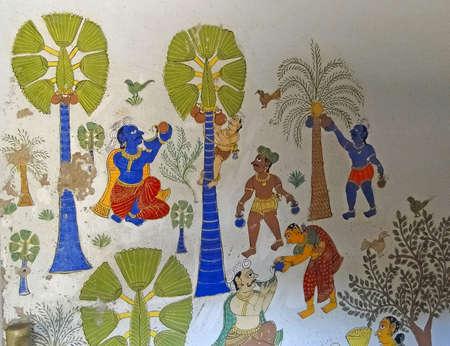 HYDERABAD, INDIA - NOV 23, 2009 -  Tribal designs painted on wall, Hyderabad, Andhra Pradesh, India, Asia Editorial