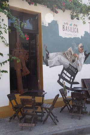 CARTAGENA, COLOMBIA - DEC 17, 2017 - Whimsical folk art on pizzeria in Getsemani Quarter, Cartagena, Colombia