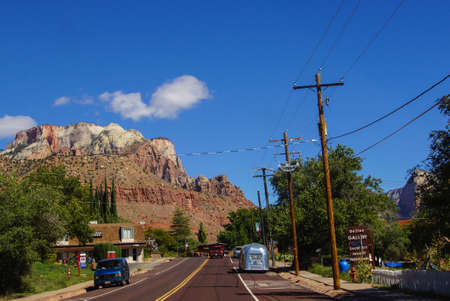 ZION, UTAH - SEP 27, 2013 - Traffic through small town outside Zion National Park, Utah Editorial