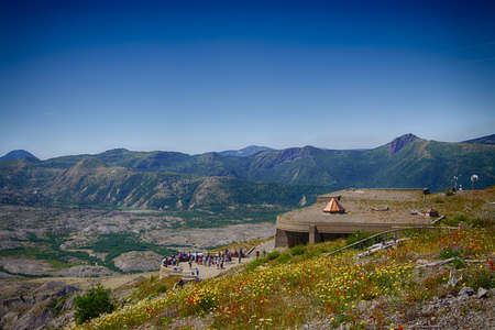 Tourists on the plaza of the Visitors Lodge at Mt St Helens Volcanic National Monument, Washington Stock Photo