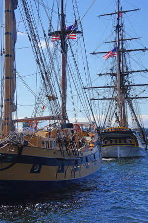 Mast, yardarms, rigging and sails of tall ship  near Kirkland, Washington