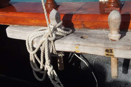 Belaying pins and rigging of a schooner off the coast of Aruba
