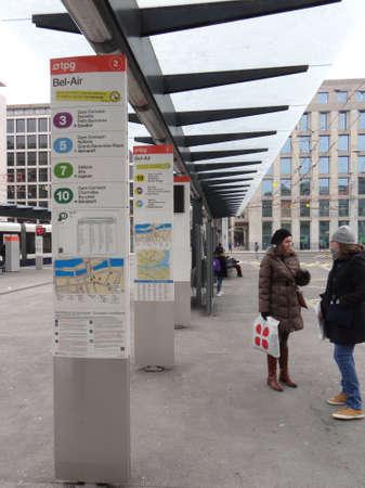 GENEVA, SWITZERLAND - FEB 24, 2018 - Mass transit center in the urban center of  Geneva, Switzerland Editorial