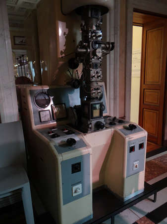GENEVA, SWITZERLAND - FEB 24, 2018 - Electron scanning microscope, at the History of Science Museum in Geneva, Switzerland