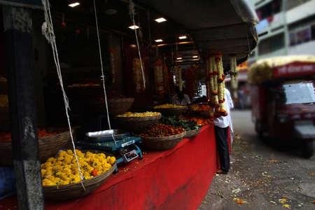 Flower vendor stall on street of Pune, India
