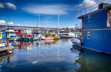 Houseboats moored on Lake Union in Seattle, Washington