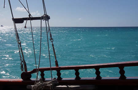 View of Caribbean Sea from deck of a schooner off the coast of Aruba