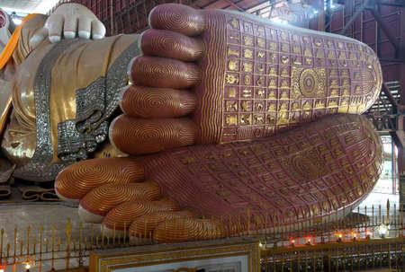 Reclining buddha, detail of foot, Chauk Htat Gyi Pagoda, Yangon (Rangoon),  Myanmar (Burma) Editorial