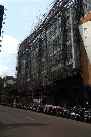 PUNE, INDIA - SEP 30, 2017 - Bamboo construction scaffolding, Pune, India Editorial