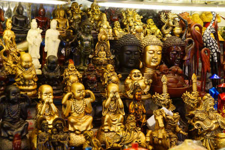 Buddha heads and other objects for sale at the Ben Thanh market, Saigon (Ho Chi Minh City),  Vietnam Editorial
