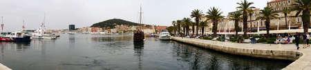 SPLIT, CROATIA - APR 15, 2018 - Boats on the waterfront harbor of Split, Croatia