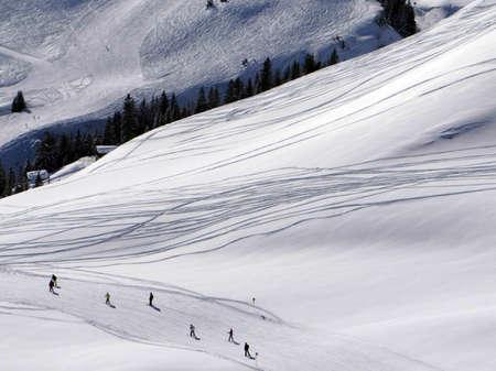 Fresh ski tracks in the Portes du Soleil near Champoussin, Switzerland Stock Photo