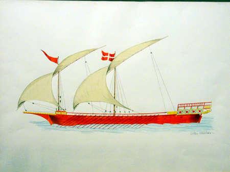 VALLETTA, MALTA - APR 11, 2018 - 18th century Maltese war galley, Malta Maritime Museum, Birgu Vittoriosa, Malta Editorial