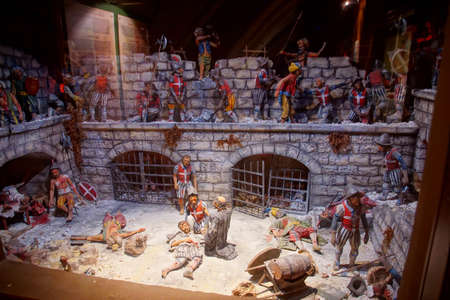 VALLETTA, MALTA - APR 10, 2018 - Diorama of battle on the walls during the Great Siege of Malta, Fort Saint Elmo War Museum, Valletta, Malta