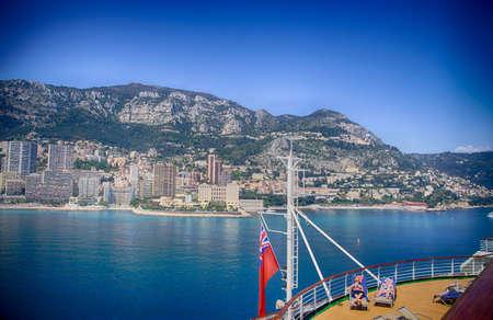Deck of a cruise ship anchored in the harbor of Monte Carlo, Monaco