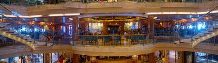 MEDITERRANEAN SEA - APR 17, 2018 - Open central atrium on a cruise ship in the Mediterranean Sea