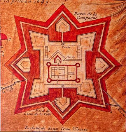 VALLETTA, MALTA - APR 10, 2018 - Medieval map of the Great Siege of Malta, Fort Saint Elmo War Museum,Valletta, Malta