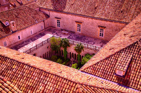 Cloister of Franciscan monastery in old city of Dubrovnik, Croatia Editorial