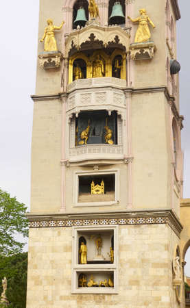 Gothic bell tower with mechanical clock of the Duomo Cathedral Messina Sicily, Italy