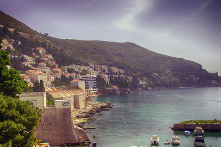 Harbor and city walls of  Dubrovnik, Croatia