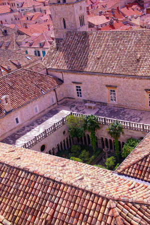 Cloister of Franciscan monastery in old city of Dubrovnik, Croatia Stock Photo