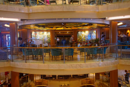 MEDITERRANEAN SEA - APR 17, 2018 - Open central atrium on a cruise ship in the Mediterranean Sea Archivio Fotografico - 101162642