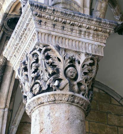 Corinthian column on palace loggia, Dubrovnik, Croatia