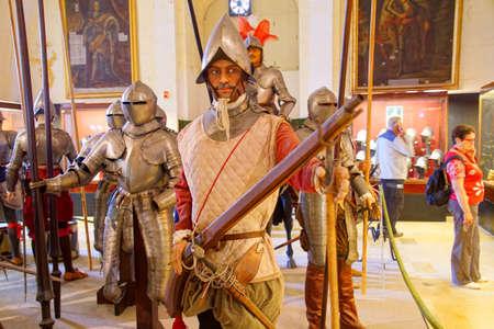 VALLETTA, MALTA - APR 11, 2018 - Musketeer of the Maltese knights infantry, 16th century,  Palace Armoury, Valletta, Malta