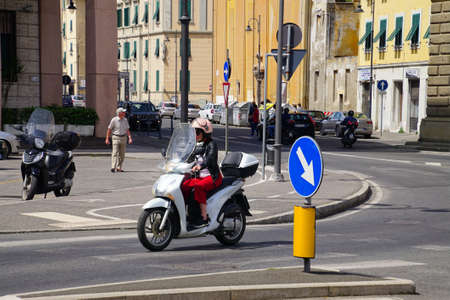 LIVORNO, ITALY - APR 23, 2018 - Motorcycle on a street in Livorno, Italy Redakční
