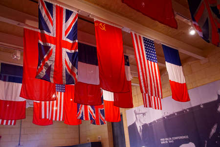 VALLETTA, MALTA - APR 10, 2018 - Flags of the World War II Allies, Fort St Elmo War Museum, Valletta, Malta