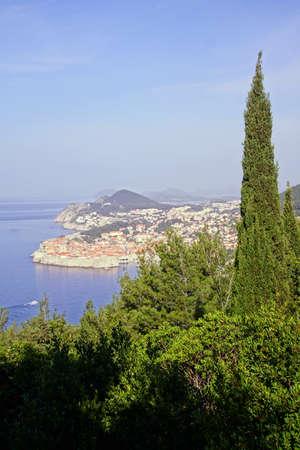 Medieval city walls and the Adriatic Sea, Dubrovnik, Croatia