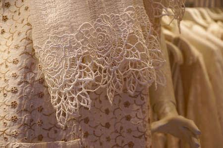 Detail of handmade lace made in Burano Venice, Italy 版權商用圖片