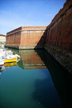 Moat and ravelin walls of the 16th century Medici Fortezza Nuova, Livorno, Italy Stock Photo