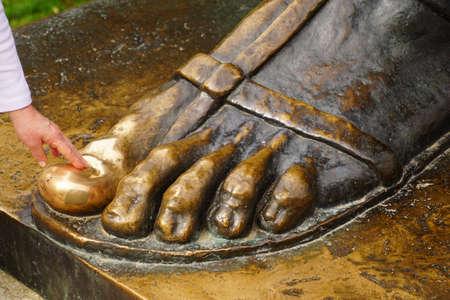 Grgur Ninski big toe rubbed shiny by superstitious visitors,Split, Croatia