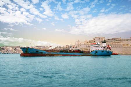 VALLETTA, MALTA - APR 10, 2018 - Oil tanker in the Grand Harbor, Valletta, Malta