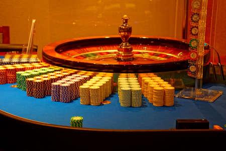 MEDITERRANEAN SEA - APR 13, 2018 - Roulette table in the casino on a cruise ship in the Mediterranean Sea Redakční