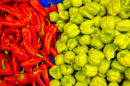 Red and green peppers in the central market of Canakkale, Turkey